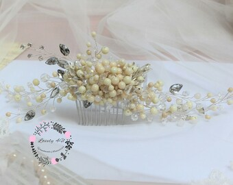 Bridal Comb, Wedding Hair Comb, Bridal Hair Comb, Wedding Comb, Pearl Comb, Bridal Headpiece, Crystal Wedding Headpiece, Rhinestones Comb