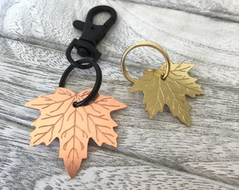 Personalised Maple Leaf Dog ID Name Tag in Brass