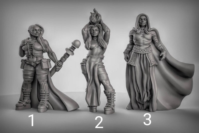 Female Sorcerer Resin Printed 3D Miniature for Dungeons and Dragons,  Pathfinder, Starfinder and other Tabletop RPGs
