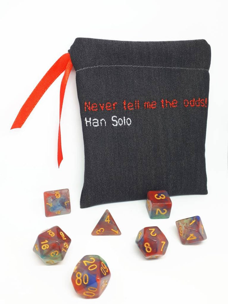 Star Wars Han Solo inspired Dungeons and Dragons Dice Bag, plus optional  dice for Tabletop Gaming, Dnd, Pathfinder, X-Wing, Tabletop RPGs