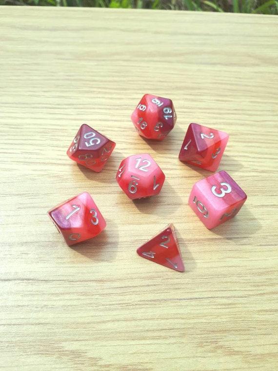 Arc en ciel foncé rose translucide nacré RPG dés 7 pièces polyédriques ensemble pour donjons et Dragons, Pathfinder, jeux sur table