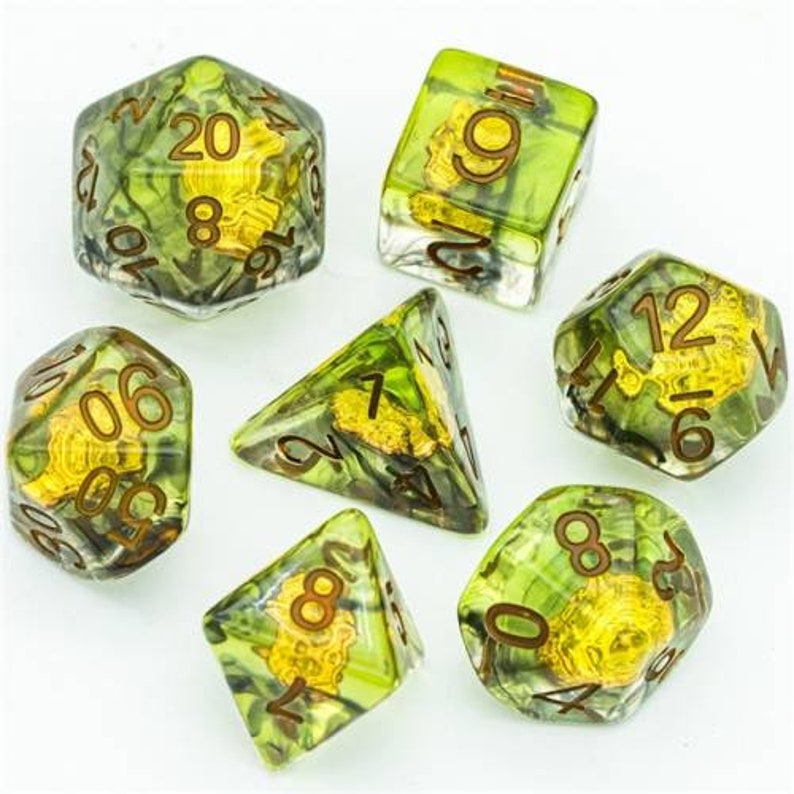 Druid Wolf Head DnD Dice 7 Piece Polyhedral Set for Dungeons and Dragons Pathfinder Tabletop RPGs