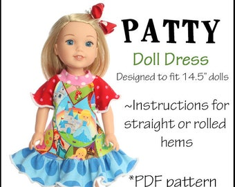 14.5 inch doll Twirl dress sewing pattern PDF pattern WildBYDesign Ashlee pattern Instant download