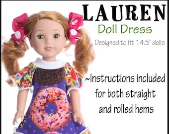 14.5 inch doll Twirl dress sewing pattern  PDF pattern Tunic and dress options WildBYDesign Lauren pattern Instant download