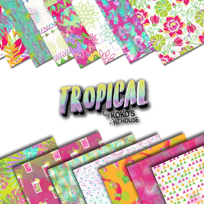 0a9867bbd Tropical digital patterns florals summer colors geometric