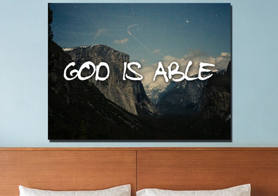 God Is Able Bible Christian Quotes Wall Art Canvas