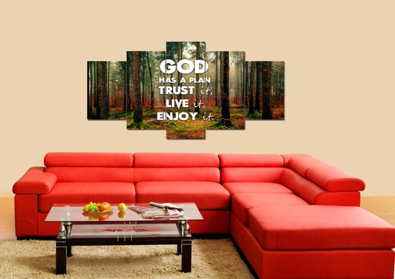 God has a plan- Trust it, Live it, Enjoy It | Christian inspirational  quotes sayings Wall Art Canvas phrases motivational God encouraging