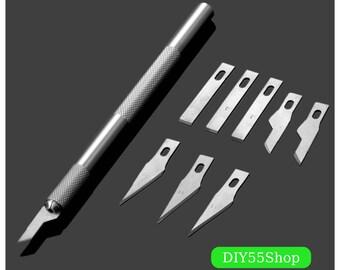 High Quality 9 Blades Wood Carving Tools Fruit Food Craft Sculpture Engraving Knife Scalpel DIY Cutting Tool PCB Repair DIY Hand Razor