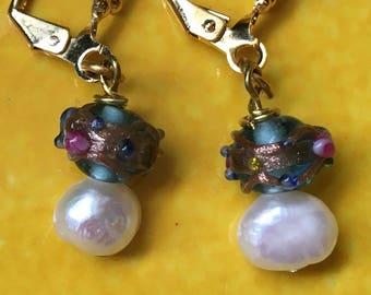 Vintage Bead and Pearl Pierced Earrings