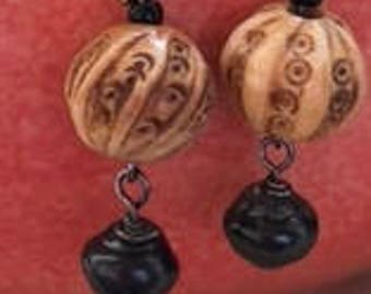 Hand Carved Pierced Earrings