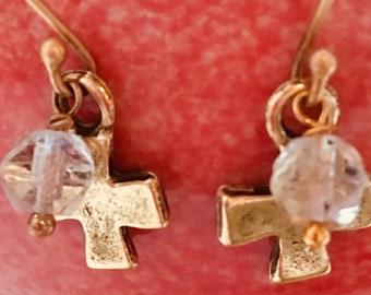 Gold Cross and Crystal Pierced Earrings