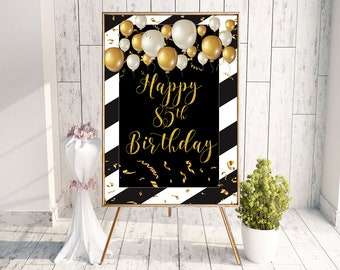 85th Birthday Happy Party Sign Gift Banner 85