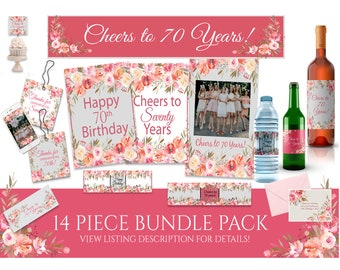 cheers to 70 years 70th decorations 70th party decor 70th birthday favor 70th birthday labels happy 70th 70th birthday tags 70th