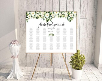floral seating chart wedding guest list table assignment etsy