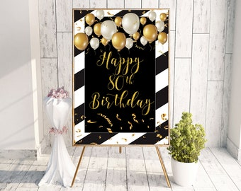 Happy 80th Birthday Decor Poster Sign Banner Decorations