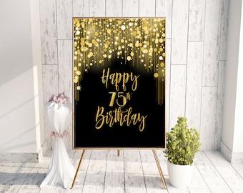 Happy 75th birthday, 75th birthday party, 75th birthday gift, happy 75th, 75th birthday sign, 75th birthday ideas, 75th birthday banner, 75