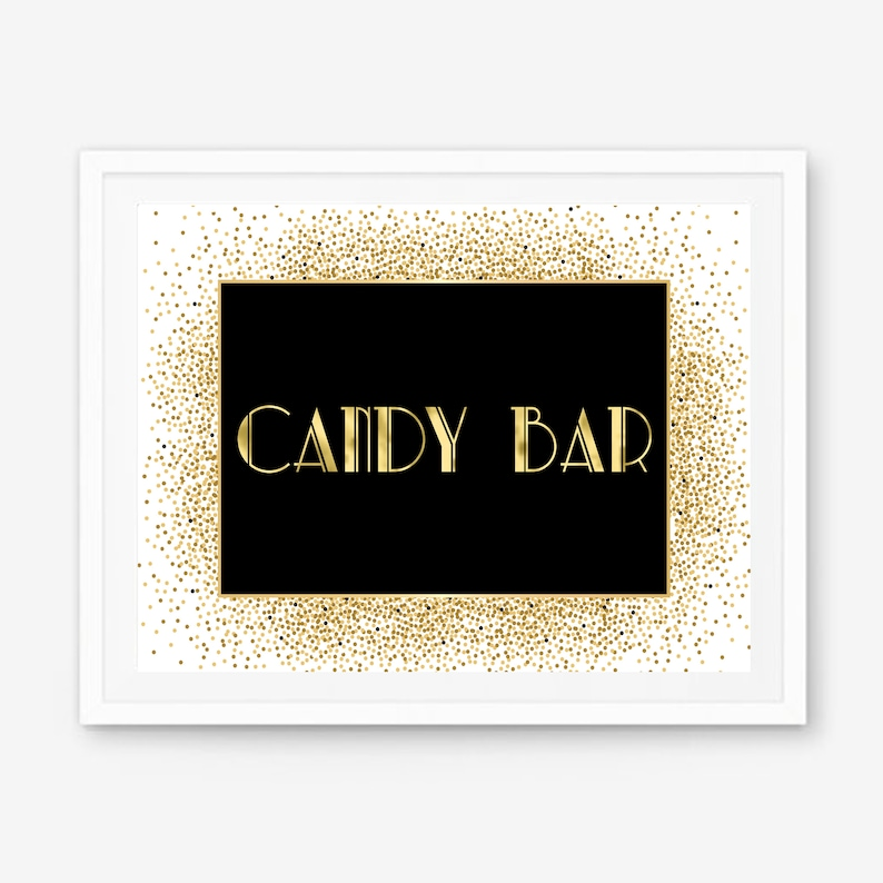 Gatsby candy bar great Gatsby party art deco candy candy bar signage Gatsby theme Gatsby A108 candy bar decor candy station sign