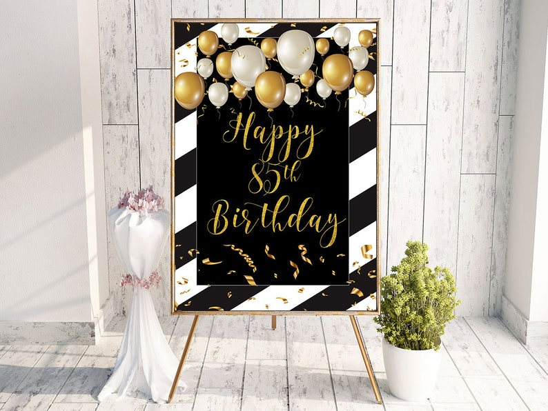 85th Birthday Happy Party Sign Gift Banner