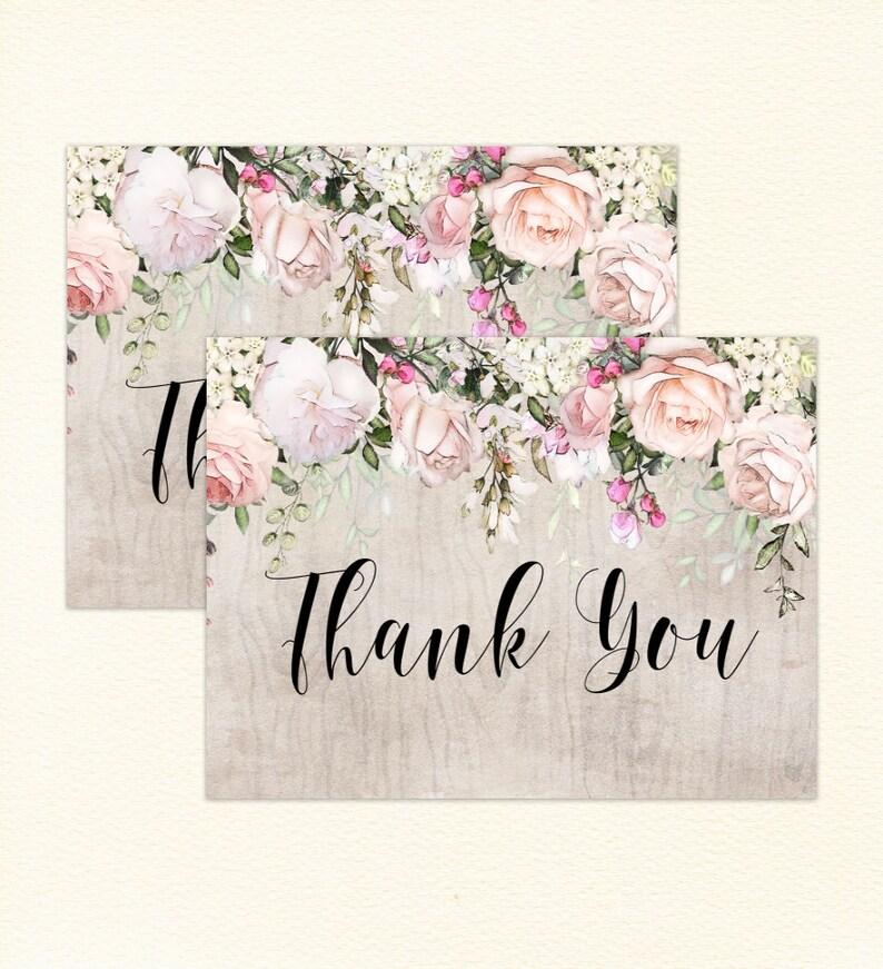 reception thank you Printable thank you boho thank you roses than you card modern thank you boho wedding thank yous gratitude card