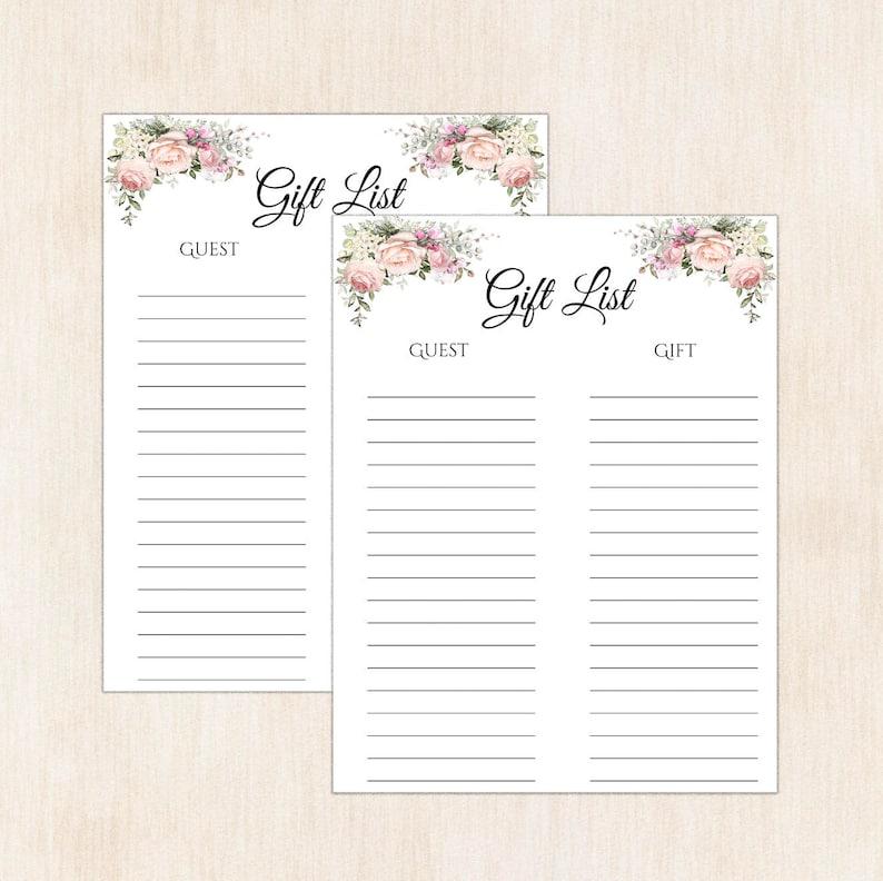 eb1da77498c43 Printable gift list, gift tracker, gift list printable, shower gift list,  Christmas gift list, Christmas gift, baby shower list, gift A105
