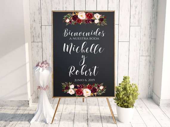 Burgundy and Gold W87 Rustic Welcome Wedding Sign Bienvenidos a Nuestra Boda Digital file Spanish Welcome Sign Welcome Wedding Sign