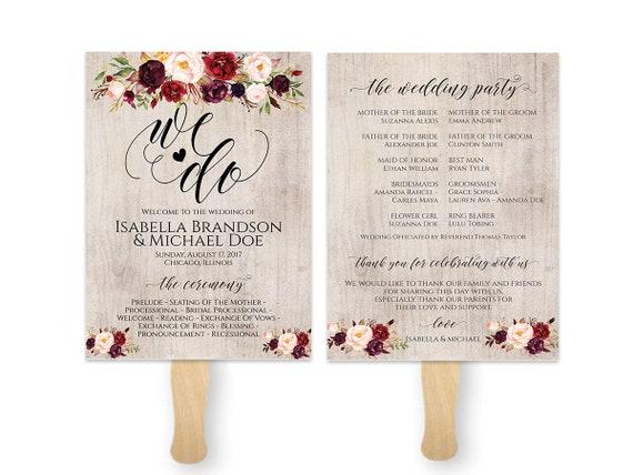 Wedding Fan Template Fan Program Template Rustic Wedding Etsy