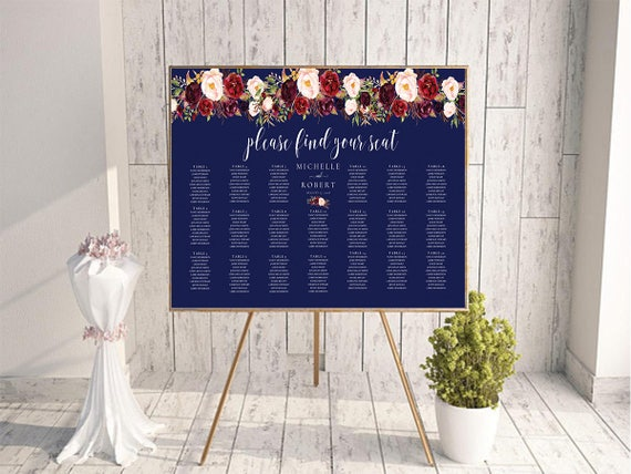 marsala table sign find your table sign seating chart pdf etsy