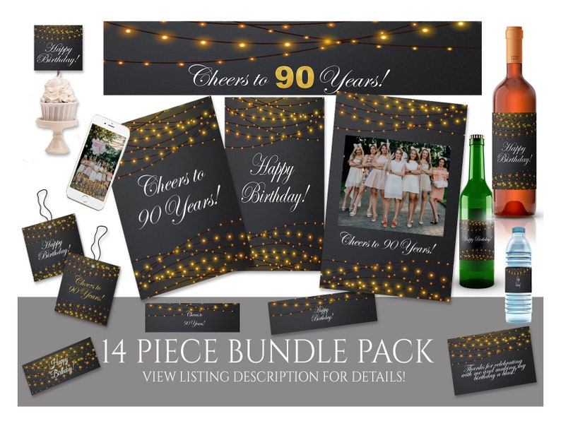 90th Birthday Decor Sign Banner