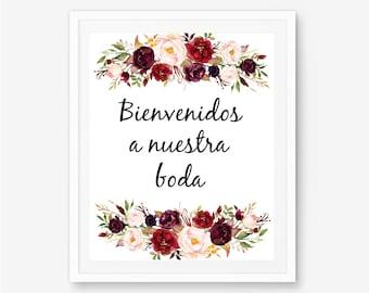 Bienvenidos, nuestra boda, spanish sign, spanish welcome, spanish signs, bienvenidos signs, bilingual wedding, spanish welcome sign, A100
