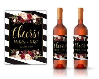 Wedding wine labels, custom wine label, custom wine labels, printable wine label, engagement wine, editable wine label, wine label printable