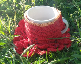 cozy mug and coaster red cotton