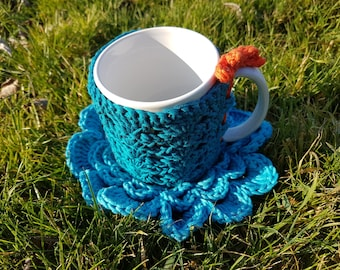cozy mug and coaster blue cotton
