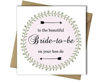 hen party card bachelorette party hen do card bride to be card engagement card wedding card hen night card bride to be card