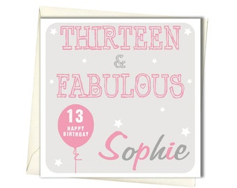 PERSONALISED 13th Birthday Card Teenager For Daughter Granddaughter Niece Goddaughter Sister
