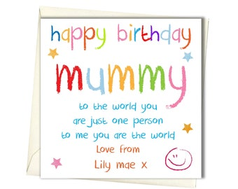 Personalised Birthday Card Mum Mam Mother Mummy From Child