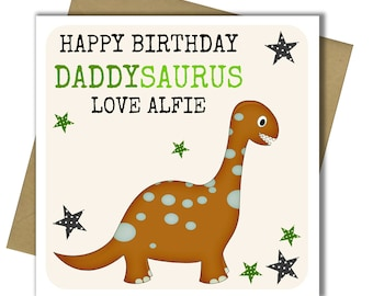 Personalised Daddy Dinosaur Birthday Card Father Dad From Child