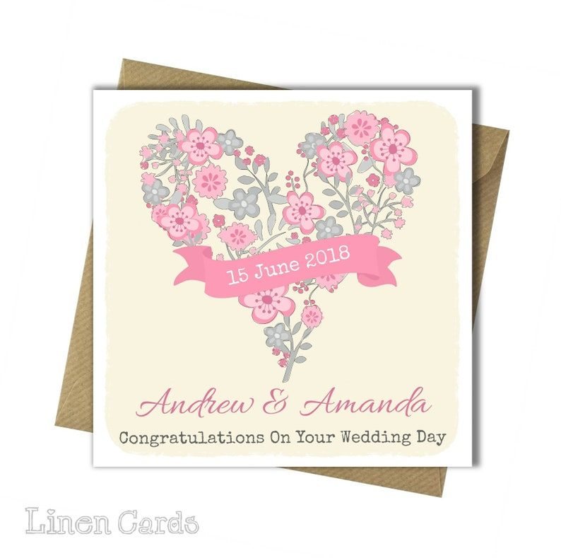 Personalised Wedding Card Wedding Day Card Congratulations Etsy