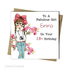 PERSONALISED Girls Birthday Card Girl Daughter Granddaughter Goddaughter Niece Sister 8th 10th 13th 14th 15th 16th 17th 18th
