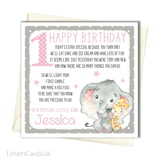 1st Birthday Card Personalised Girl 1st First Birthday Card Etsy