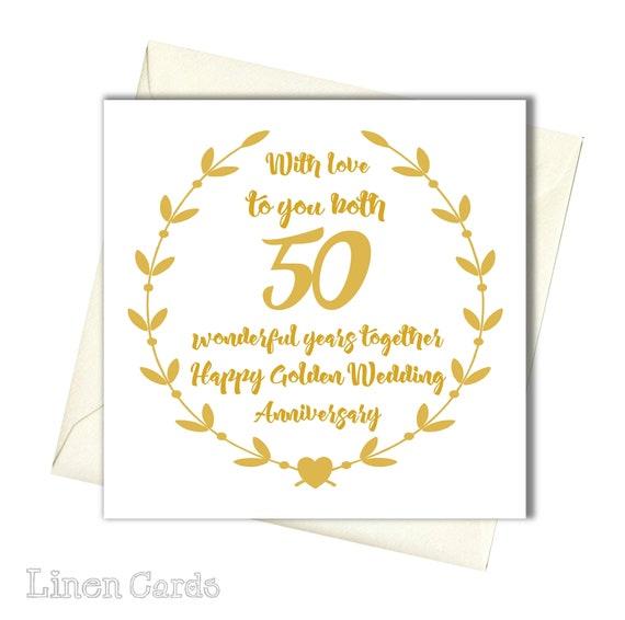 50 Jahrestag Karte Goldene Hochzeit Karte Für Euch Beide Auf Ihrem Geburtstag Karte Hochzeit Jahrestag Karte
