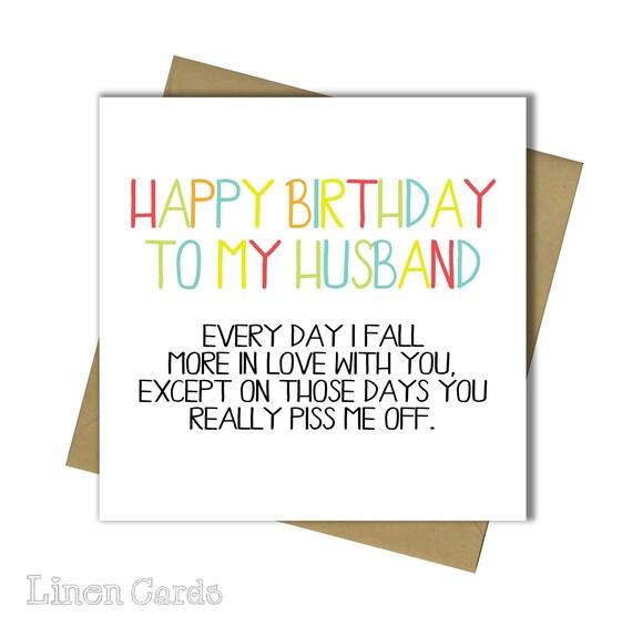 Husband Birthday Card Fun Humour Banter 30th 40th 50th 60th 65th