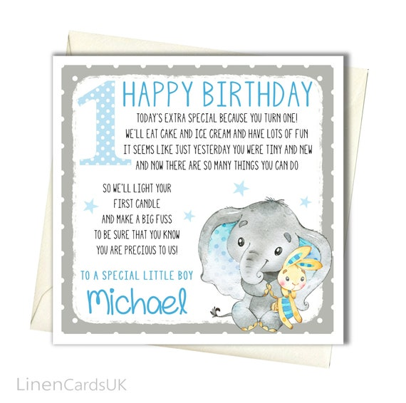 Cards & Stationery Celebrations & Occasions Personalised Elephant Boys 1st Birthday Card Nephew Son Grandson Godson Brother