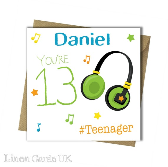 PERSONALISED 13th Birthday Card Teenager Birthday Card For