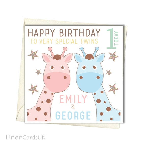 Personalised Twins Birthday Card Twins First Birthday Card