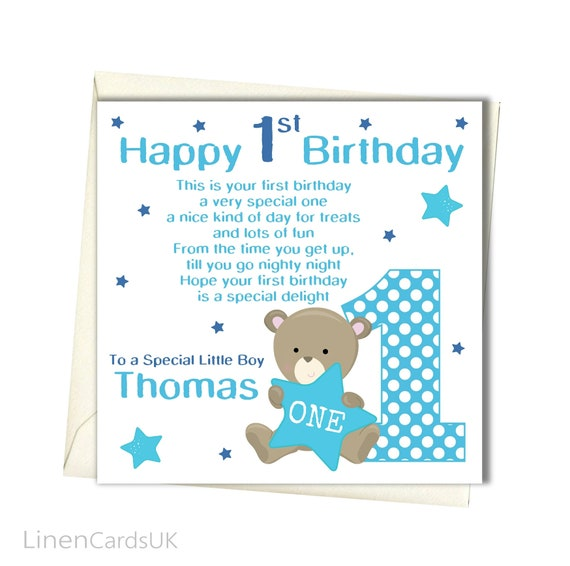PERSONALISED Boy 1st Birthday Card First