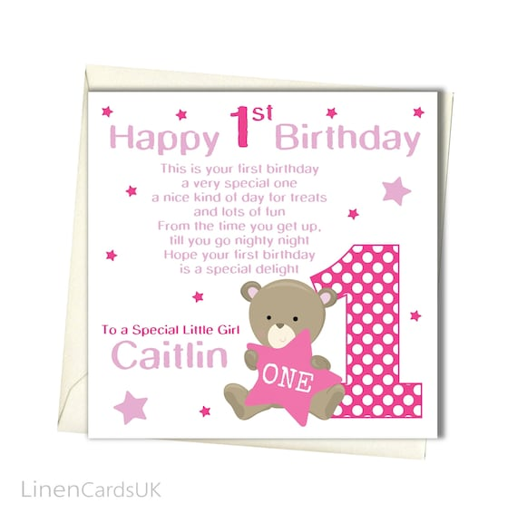 PERSONALISED Girls 1st Birthday Card First For