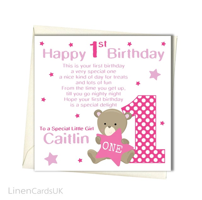 Personalised Girls 1st Birthday Card First Birthday Card For Etsy