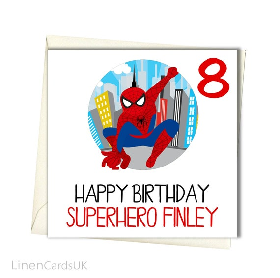SPIDERMAN Son Sister Brother Daughter Personalised Birthday Card Niece