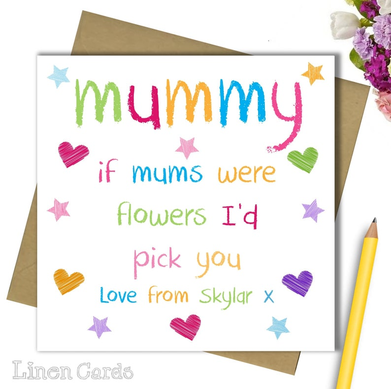 Personalised Mum Mummy Mammy Mommy Mother Card Birthday Mothers Day