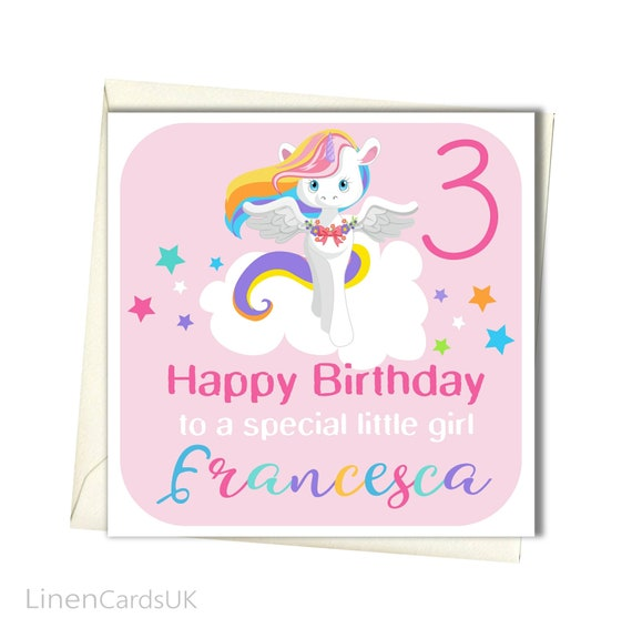 personalised unicorn birthday card daughter granddaughter 1st 2nd